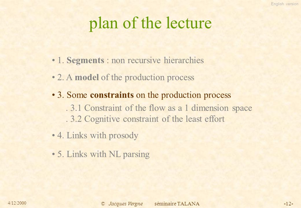 English version 4/12/2000 © Jacques Vergne séminaire TALANA-12- plan of the lecture 1.