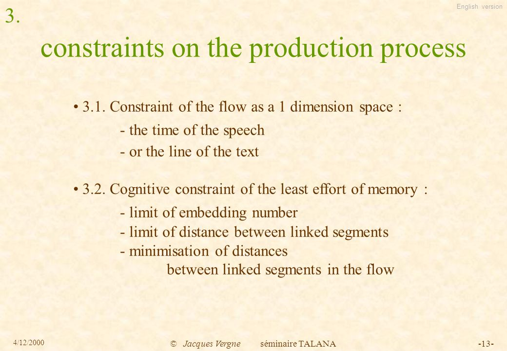 English version 4/12/2000 © Jacques Vergne séminaire TALANA-13- constraints on the production process 3.1.