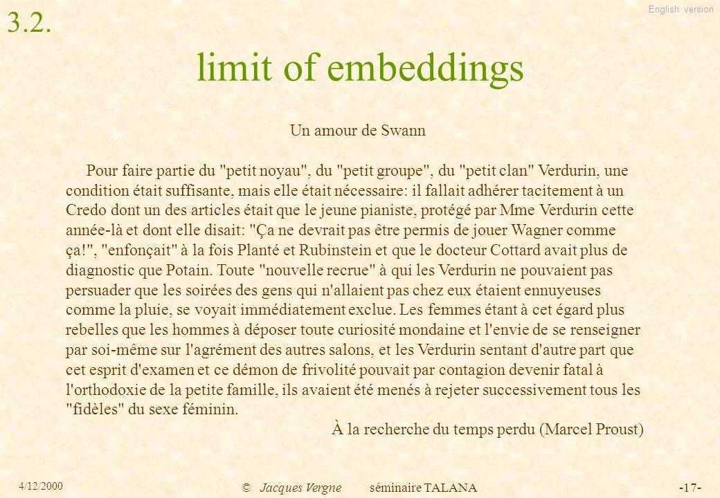 English version 4/12/2000 © Jacques Vergne séminaire TALANA-17- limit of embeddings Un amour de Swann Pour faire partie du