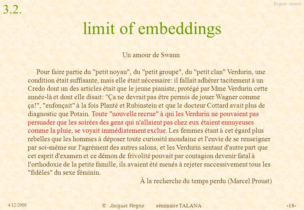English version 4/12/2000 © Jacques Vergne séminaire TALANA-18- limit of embeddings Un amour de Swann Pour faire partie du