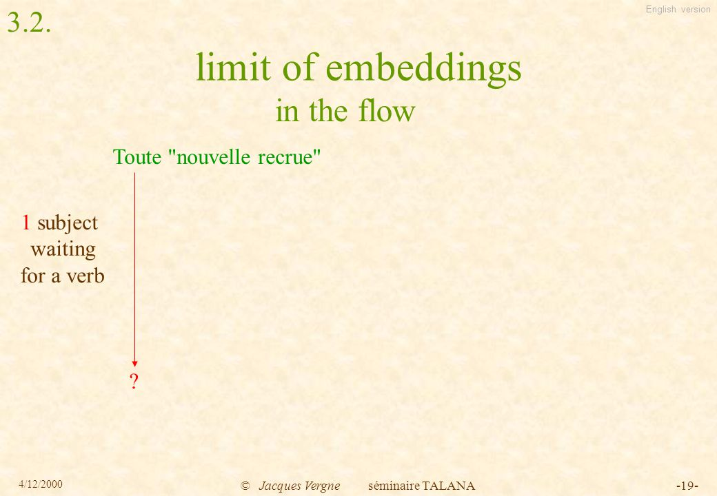 English version 4/12/2000 © Jacques Vergne séminaire TALANA-19- limit of embeddings Toute nouvelle recrue .