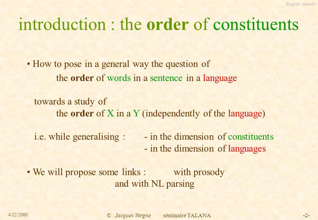 English version 4/12/2000 © Jacques Vergne séminaire TALANA-43- an example of a non recursive hierarchy of segments sentences clauses chunks words 3.2.
