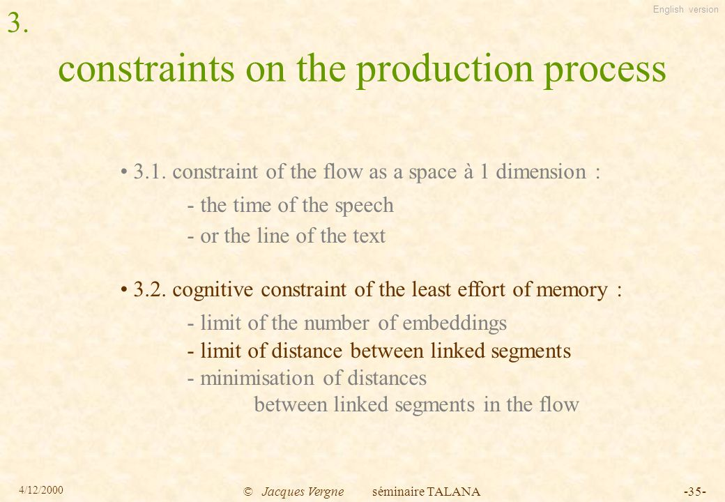English version 4/12/2000 © Jacques Vergne séminaire TALANA-35- constraints on the production process 3.1.