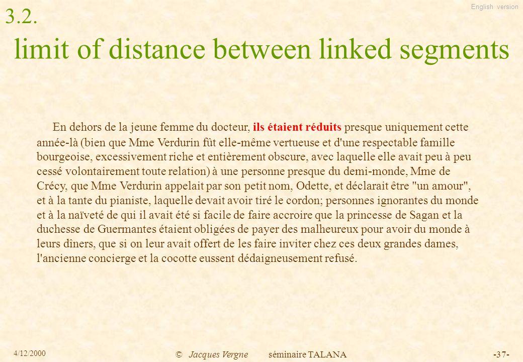 English version 4/12/2000 © Jacques Vergne séminaire TALANA-37- limit of distance between linked segments En dehors de la jeune femme du docteur, ils