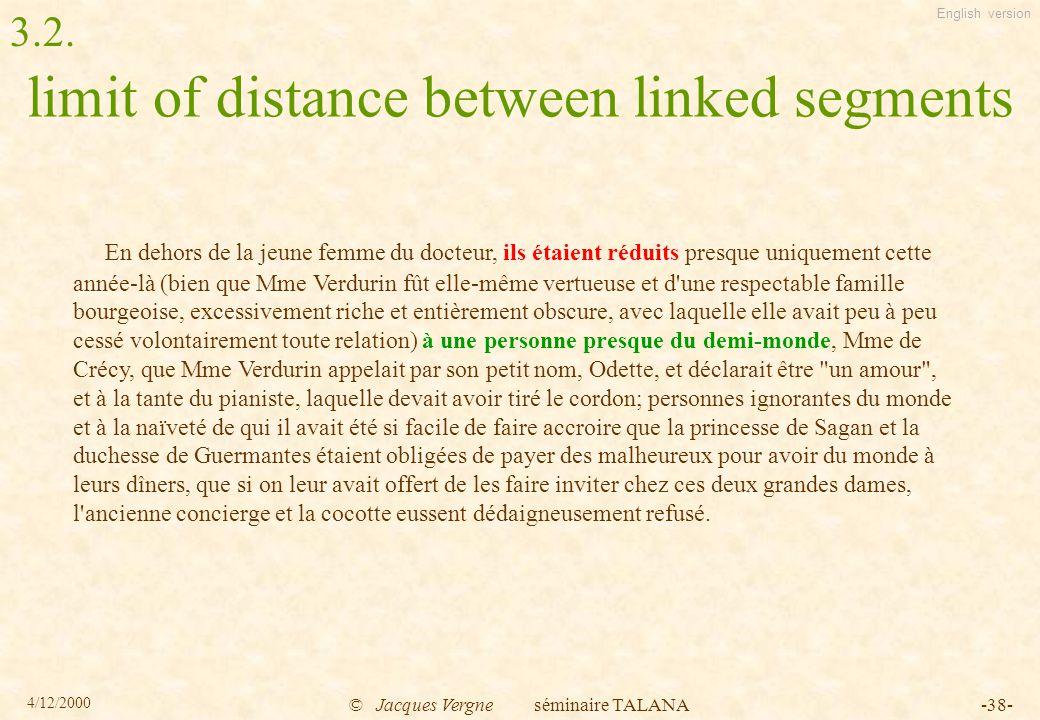 English version 4/12/2000 © Jacques Vergne séminaire TALANA-38- limit of distance between linked segments En dehors de la jeune femme du docteur, ils