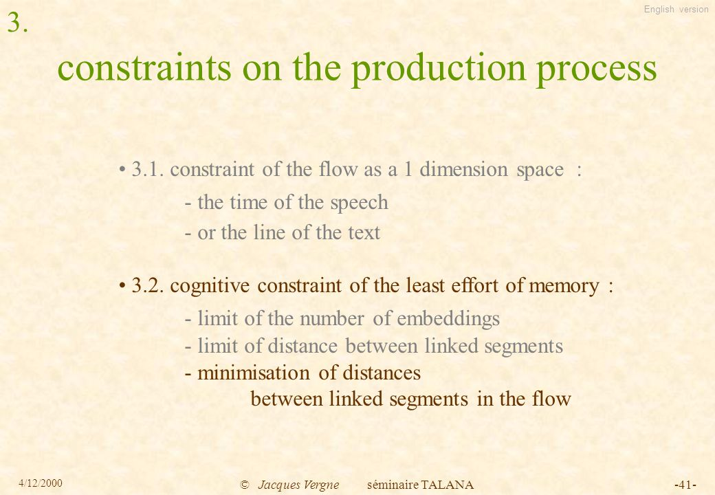 English version 4/12/2000 © Jacques Vergne séminaire TALANA-41- constraints on the production process 3.1.