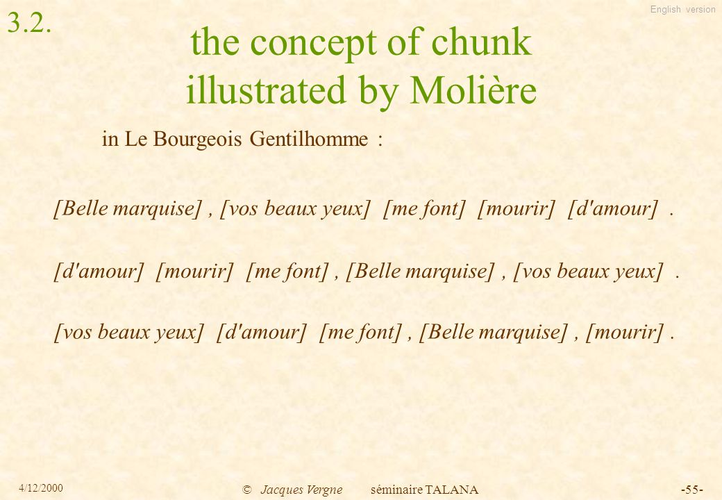 English version 4/12/2000 © Jacques Vergne séminaire TALANA-55- the concept of chunk illustrated by Molière [Belle marquise], [vos beaux yeux] [me font] [mourir] [d amour].
