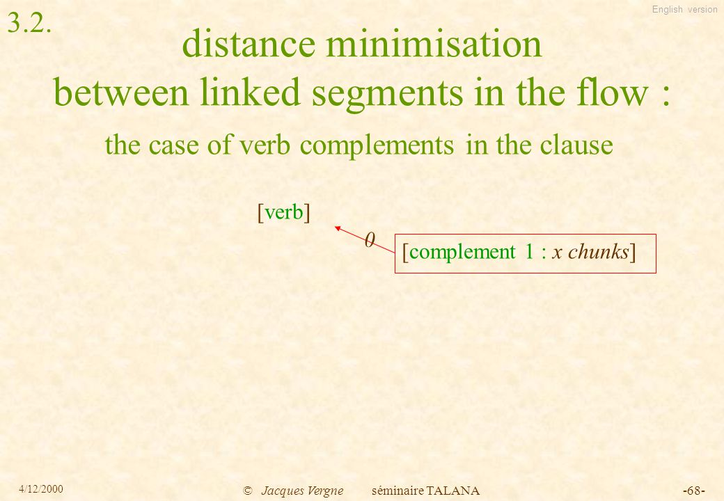 English version 4/12/2000 © Jacques Vergne séminaire TALANA-68- distance minimisation between linked segments in the flow : the case of verb complements in the clause [verb] [complement 1 : x chunks] 0 3.2.
