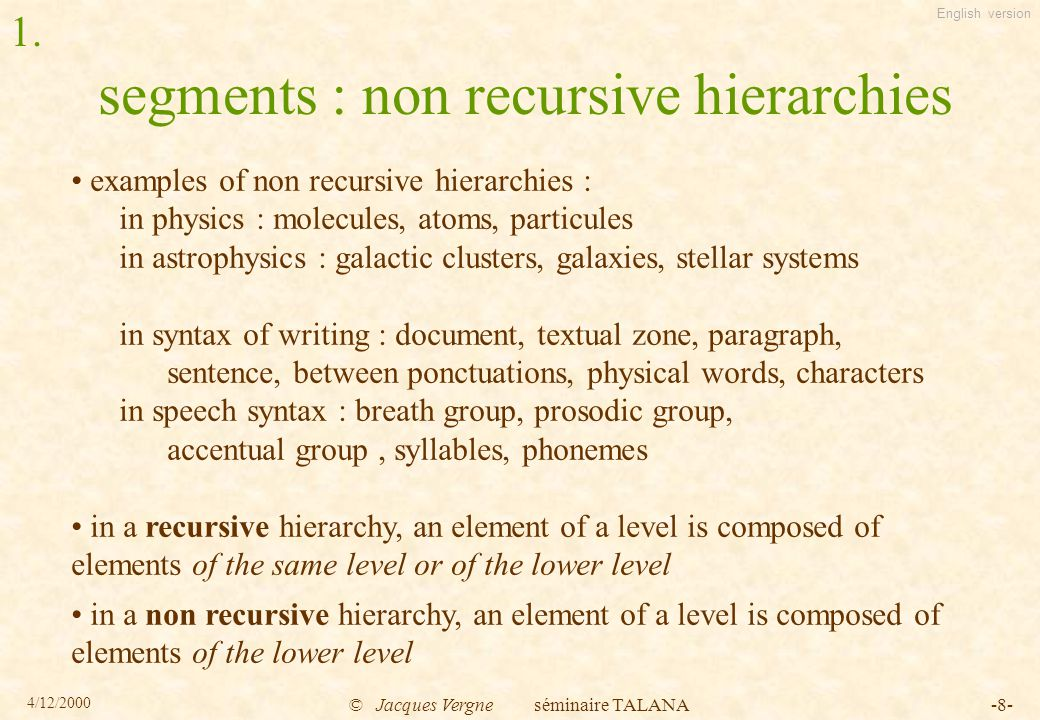 English version 4/12/2000 © Jacques Vergne séminaire TALANA-9- segments : non recursive hierarchies in a non recursive hierarchy : - an element of a level is composed of elements of the lower level (or of lower levels : heterogeneous hierarchy) - the number of levels is fixed a priori a hierarchy is a model, a representation of an object, only a particular eye on this object (it is not a truth on this object) it is a tool for thinking, representing an object, for act on the object (this action can help to validate the model) 1.