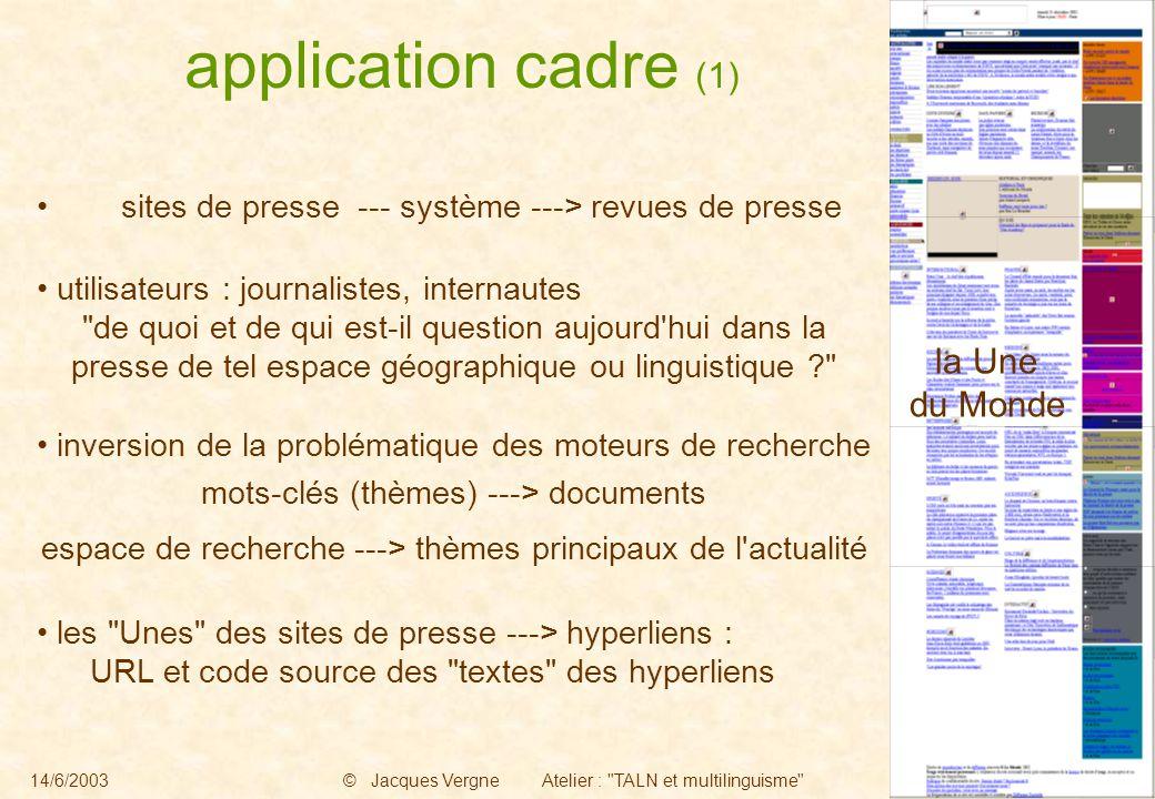 14/6/2003© Jacques Vergne Atelier : TALN et multilinguisme -2- sites de presse --- système ---> revues de presse utilisateurs : journalistes, internautes de quoi et de qui est-il question aujourd hui dans la presse de tel espace géographique ou linguistique inversion de la problématique des moteurs de recherche mots-clés (thèmes) ---> documents espace de recherche ---> thèmes principaux de l actualité les Unes des sites de presse ---> hyperliens : URL et code source des textes des hyperliens la Une du Monde application cadre (1)