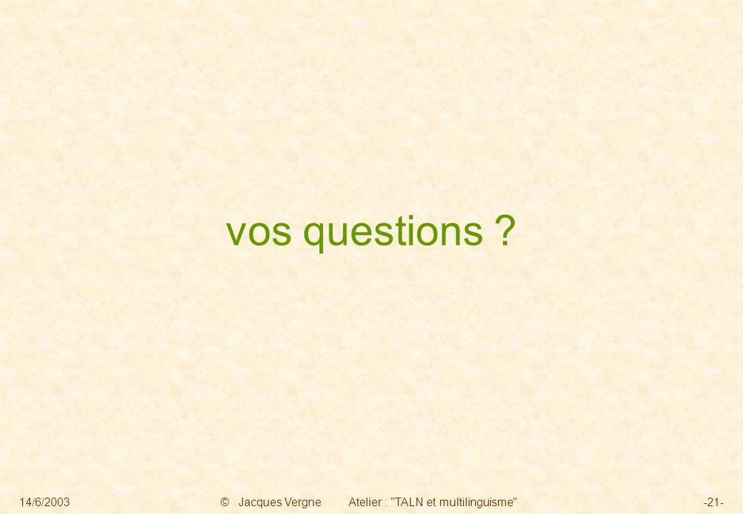 14/6/2003© Jacques Vergne Atelier : TALN et multilinguisme -21- vos questions ?