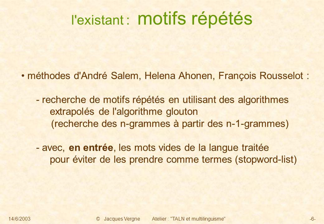 14/6/2003© Jacques Vergne Atelier :