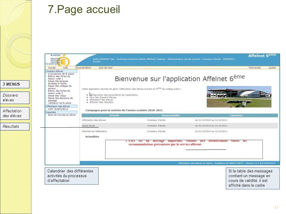 7.Page accueil 11 Si la table des messages contient un message en cours de validité, il est affiché dans le cadre Dossiers élèves Affectation des élèv
