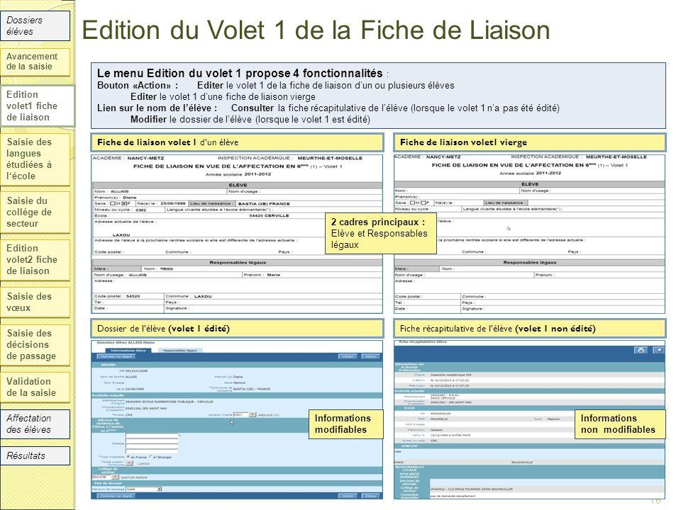 Edition du Volet 1 de la Fiche de Liaison Saisie des langues étudiées à l'école Saisie du collège de secteur Edition volet2 fiche de liaison Saisie de