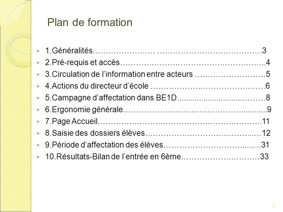 Plan de formation 1.Généralités…………………… ………………………………….3 2.Pré-requis et accès………………………………………………..4 3.Circulation de l'information entre acteurs ………………