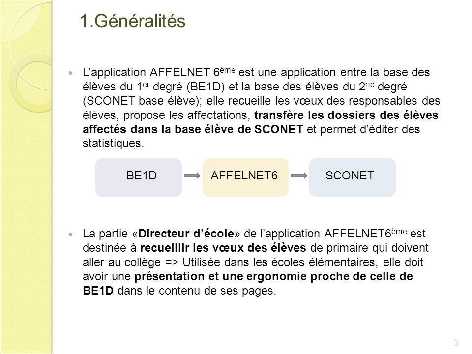 1.Généralités L'application AFFELNET 6 ème est une application entre la base des élèves du 1 er degré (BE1D) et la base des élèves du 2 nd degré (SCON