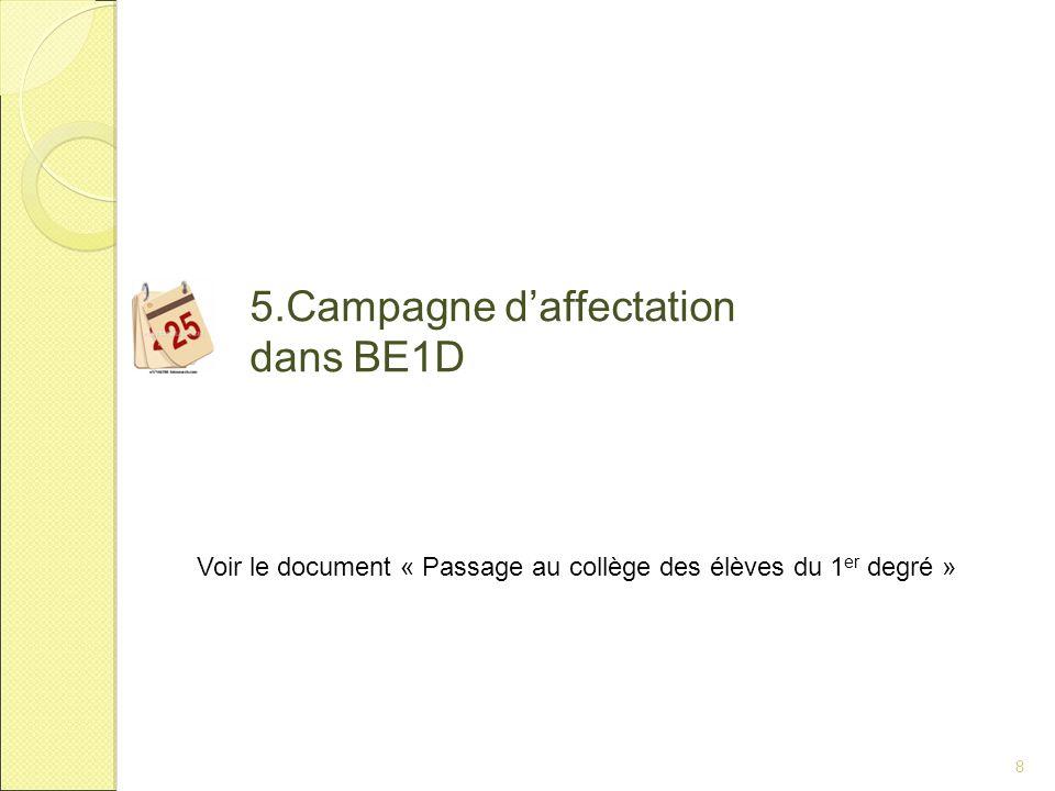 8 5.Campagne d'affectation dans BE1D Voir le document « Passage au collège des élèves du 1 er degré »