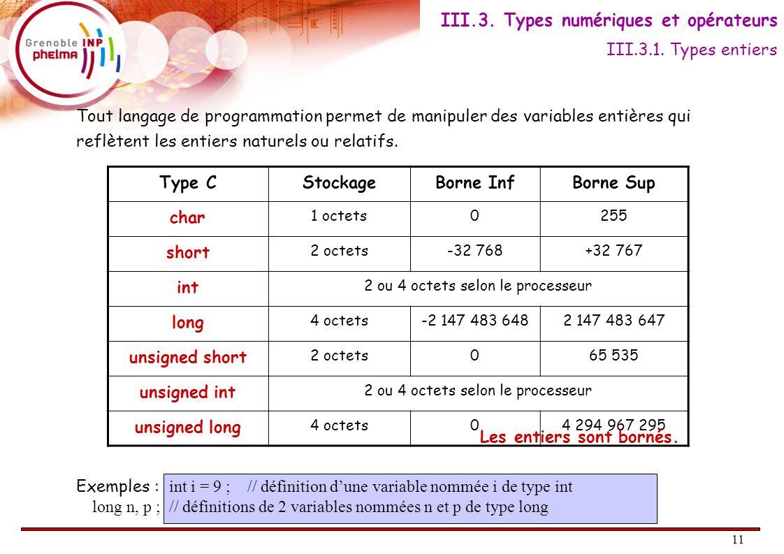 11 Tout langage de programmation permet de manipuler des variables entières qui reflètent les entiers naturels ou relatifs.
