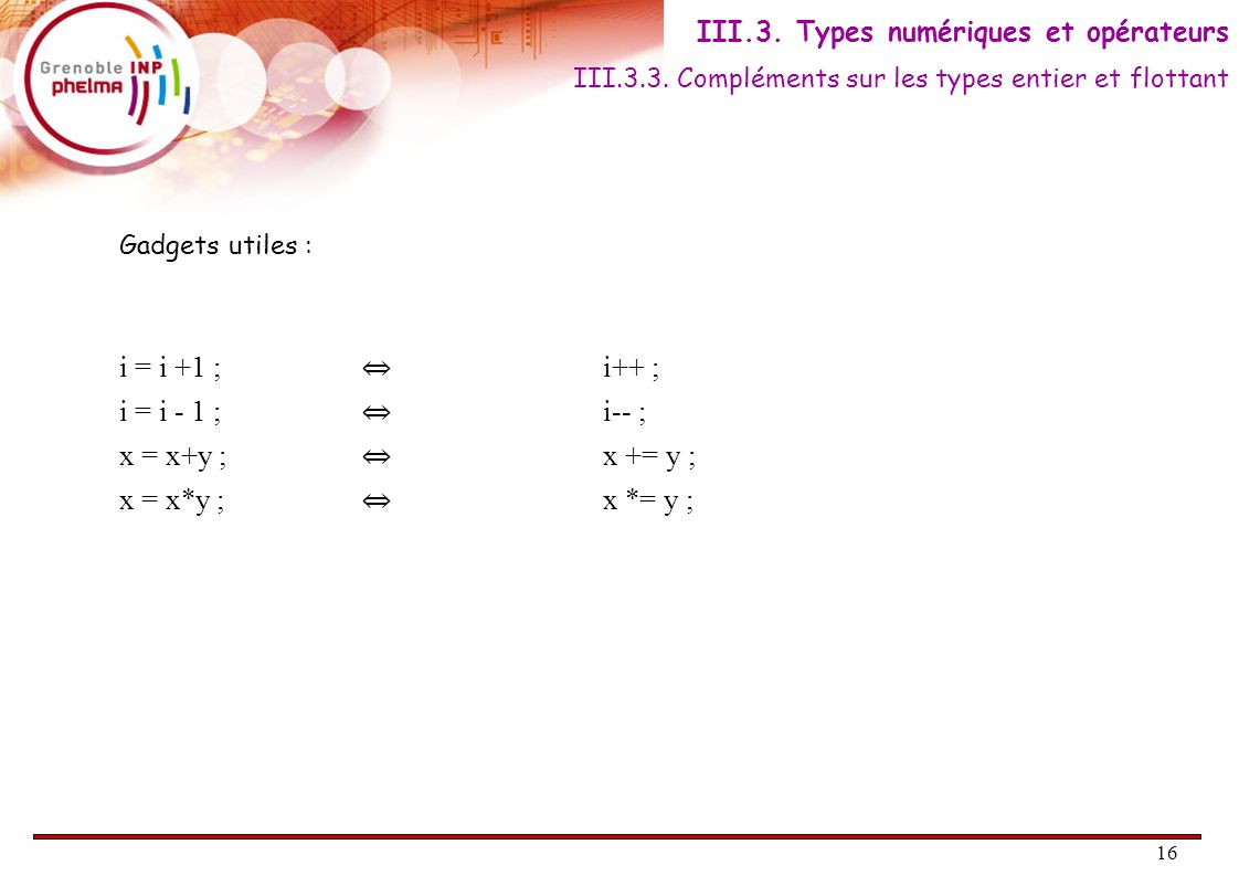 16 Gadgets utiles : i = i +1 ; ⇔ i++ ; i = i - 1 ; ⇔ i-- ; x = x+y ; ⇔ x += y ; x = x*y ; ⇔ x *= y ; III.3.3.