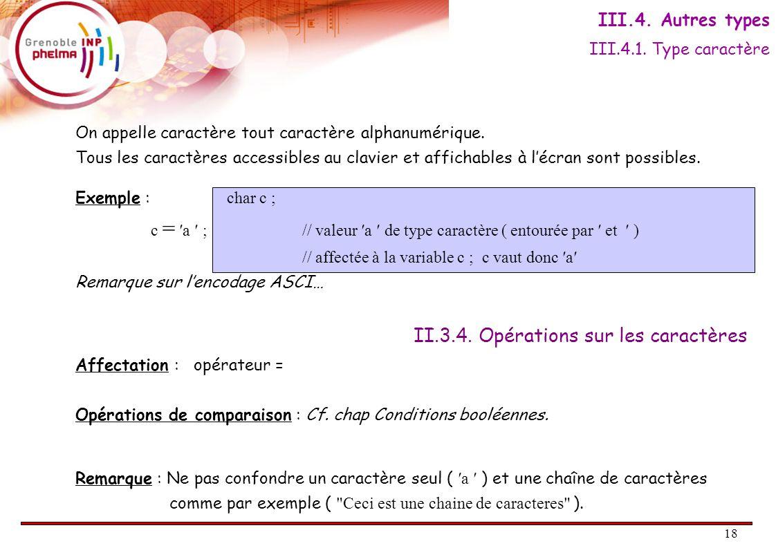 18 II.3.4. Opérations sur les caractères On appelle caractère tout caractère alphanumérique.