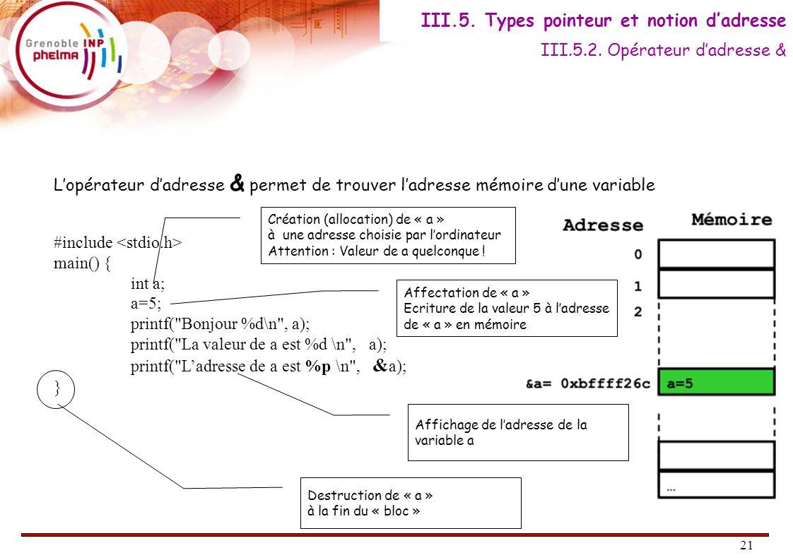 21 L'opérateur d'adresse & permet de trouver l'adresse mémoire d'une variable #include main() { int a; a=5; printf( Bonjour %d\n , a); printf( La valeur de a est %d \n , a); printf( L'adresse de a est %p \n , & a); } III.5.