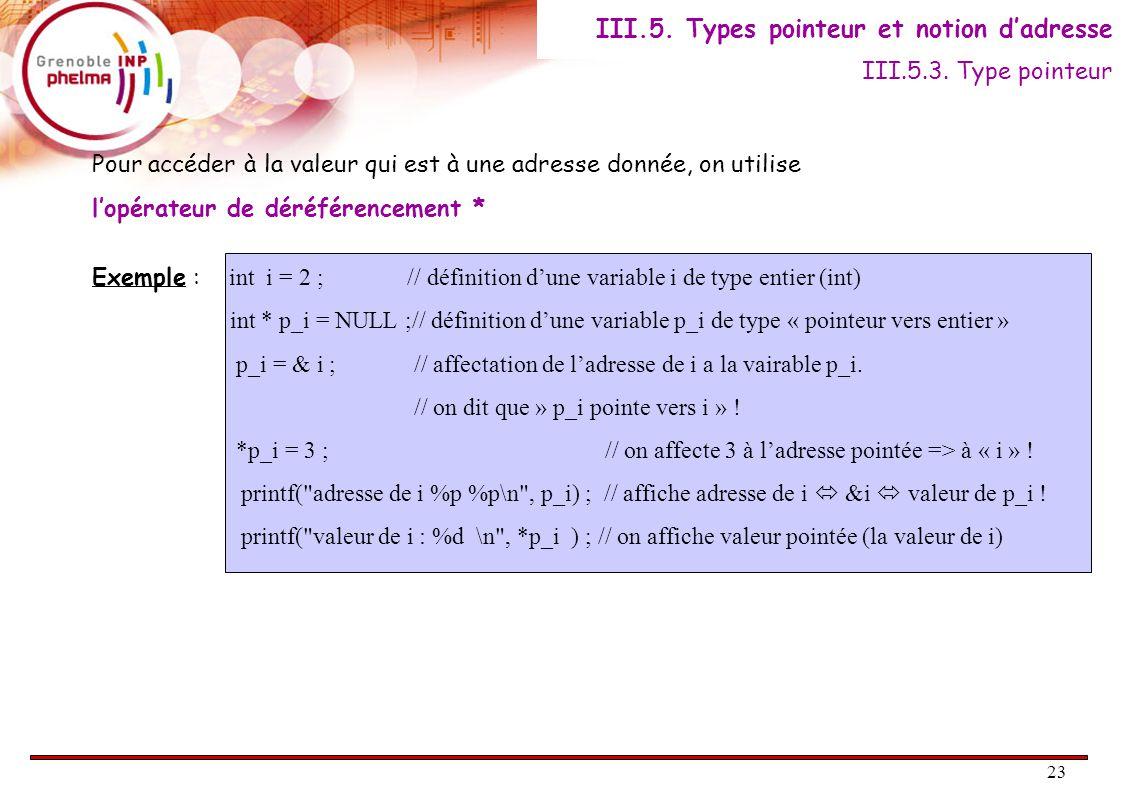 23 Pour accéder à la valeur qui est à une adresse donnée, on utilise l'opérateur de déréférencement * Exemple : int i = 2 ; // définition d'une variable i de type entier (int) int * p_i = NULL ;// définition d'une variable p_i de type « pointeur vers entier » p_i = & i ; // affectation de l'adresse de i a la vairable p_i.