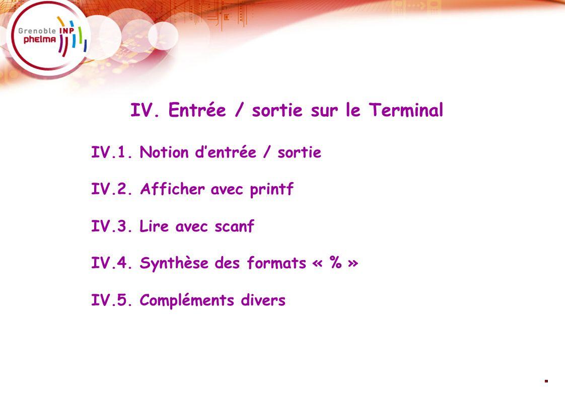 28 IV. Entrée / sortie sur le Terminal IV.1. Notion d'entrée / sortie IV.2.