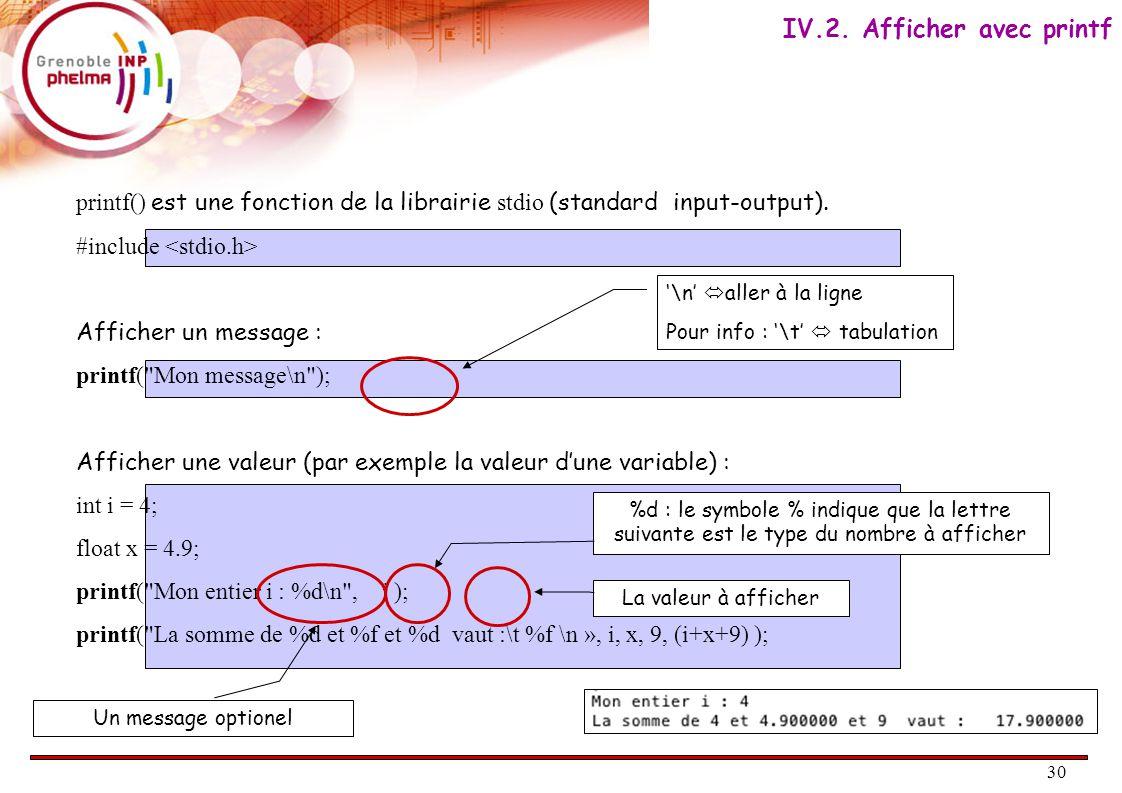 30 printf() est une fonction de la librairie stdio (standard input-output).