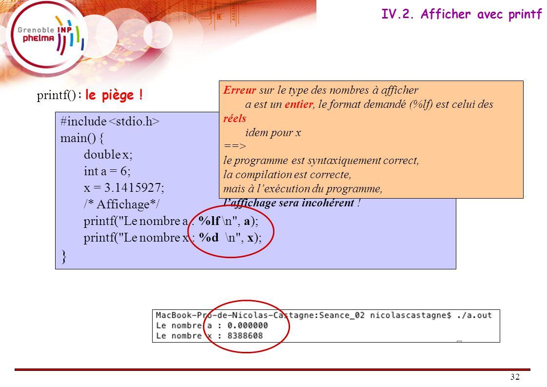 32 printf() : le piège . IV.2.