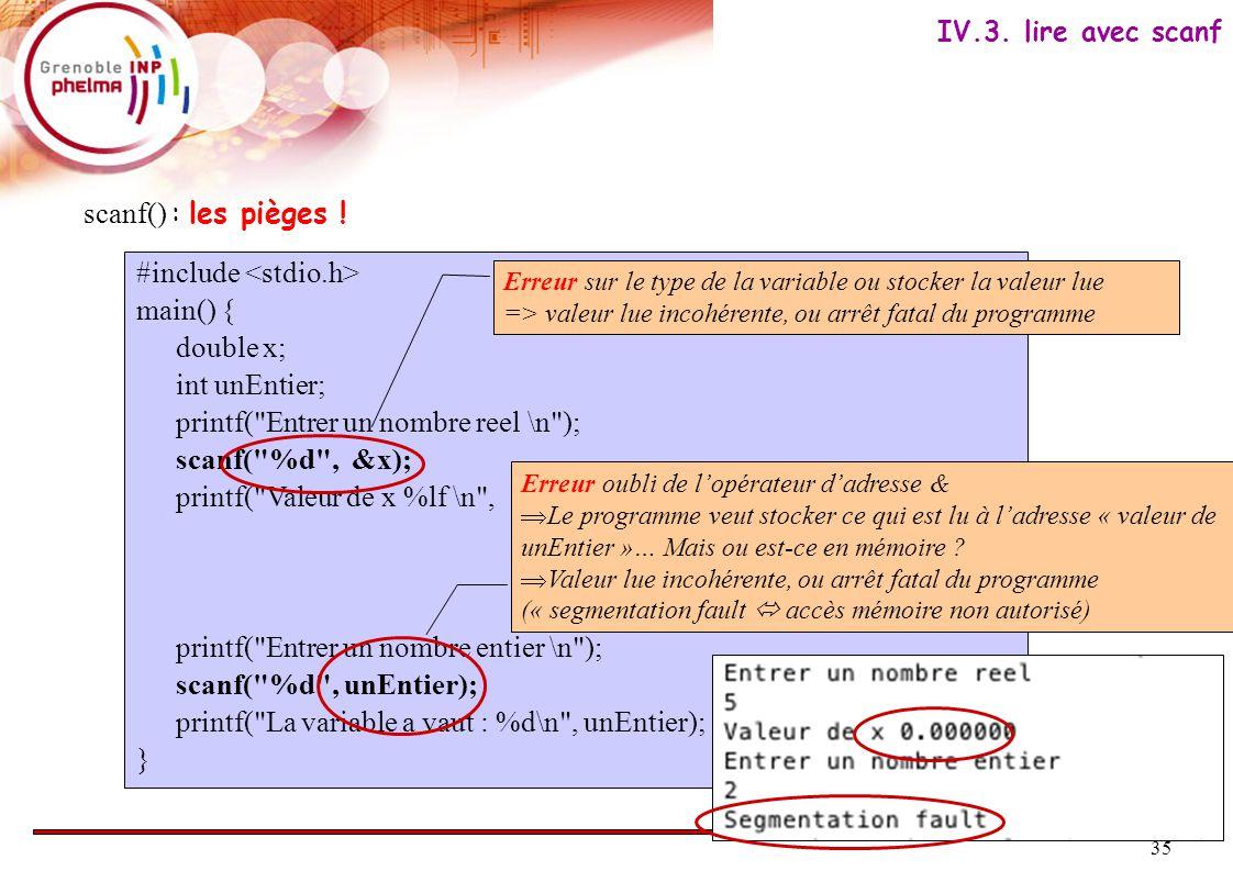 35 scanf() : les pièges ! #include main() { double x; int unEntier; printf(