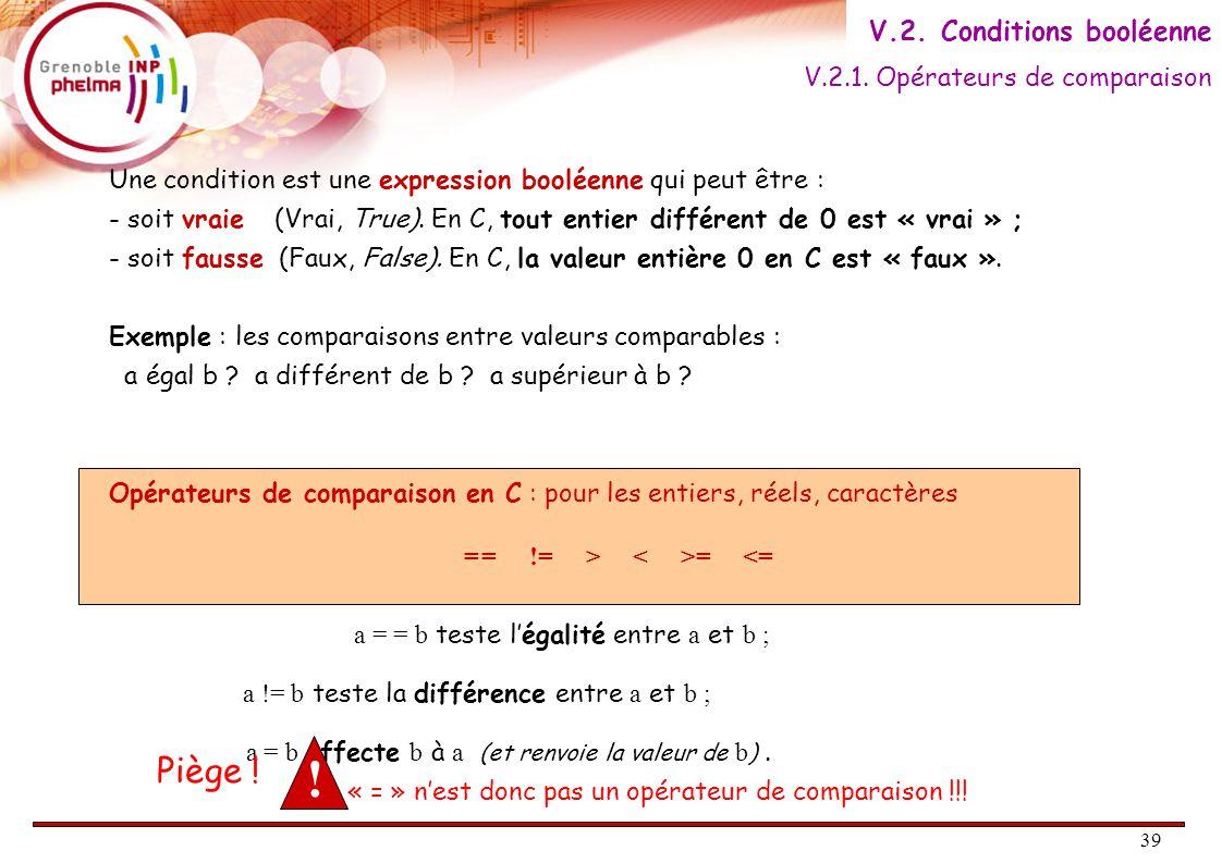 39 Une condition est une expression booléenne qui peut être : - soit vraie (Vrai, True).
