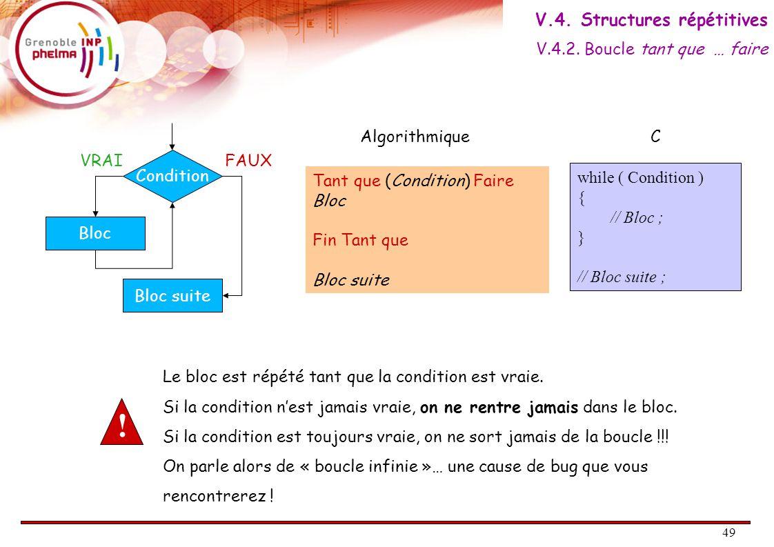 49 Condition VRAIFAUX Bloc Bloc suite Tant que (Condition) Faire Bloc Fin Tant que Bloc suite AlgorithmiqueC while ( Condition ) { // Bloc ; } // Bloc suite ; Le bloc est répété tant que la condition est vraie.