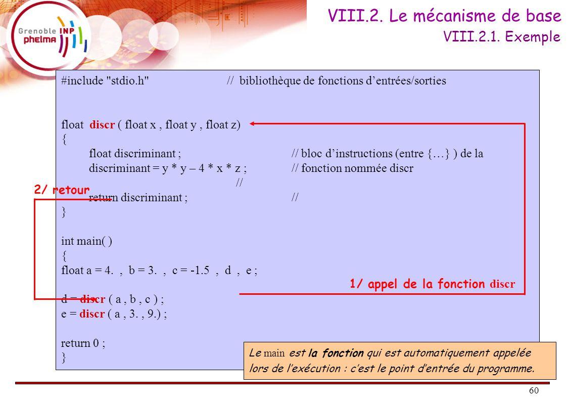 60 VIII.2. Le mécanisme de base #include