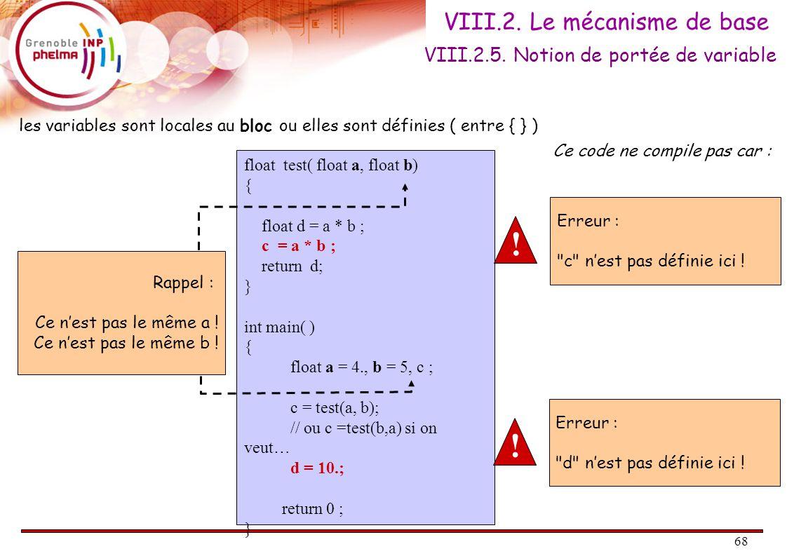 68 VIII.2. Le mécanisme de base VIII.2.5. Notion de portée de variable float test( float a, float b) { float d = a * b ; c = a * b ; return d; } int m