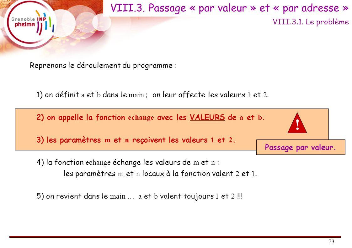 73 Reprenons le déroulement du programme : 1) on définit a et b dans le main ; on leur affecte les valeurs 1 et 2.