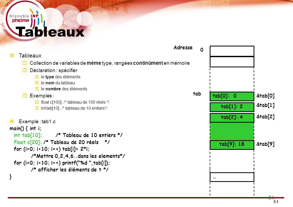 84 Tableaux  Tableaux  Collection de variables de même type, rangées continûment en mémoire  Déclaration : spécifier  le type des éléments  le nom du tableau  le nombre des éléments  Exemples :  float c[100]; /* tableau de 100 réels */  int tab[10]; /* tableau de 10 entiers*/  Exemple : tab1.c main() { int i; int tab[10]; /* Tableau de 10 entiers */ float c[20];/* Tableau de 20 réels */ for (i=0; i<10; i++) tab[i]= 2*i; /*Mettre 0,2,4,6..dans les elements*/ for (i=0; i<10; i++) printf( %d ,tab[i]); /* afficher les éléments de t */ } tab[9]: 18 tab[2]: 4 0 tab[1]: 2 tab[0]: 0 tab &tab[0] Adresse &tab[1] &tab[2] … &tab[9]