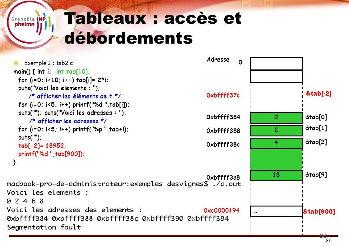 86 Tableaux : accès et débordements  Exemple 2 : tab2.c main() { int i; int tab[10]; for (i=0; i<10; i++) tab[i]= 2*i; puts( Voici les elements : ); /* afficher les éléments de t */ for (i=0; i<5; i++) printf( %d ,tab[i]); puts( ); puts( Voici les adresses : ); /* afficher les adresses */ for (i=0; i<5; i++) printf( %p ,tab+i); puts( ); tab[-2]= 18952; printf( %d ,tab[900]); } 18 4 0 2 0 0xbffff384&tab[0] Adresse &tab[1] &tab[2] &tab[-2] … &tab[9] &tab[900] 0xbffff388 0xbffff38c 0xbffff3a8 0xbffff37c 0xc0000194