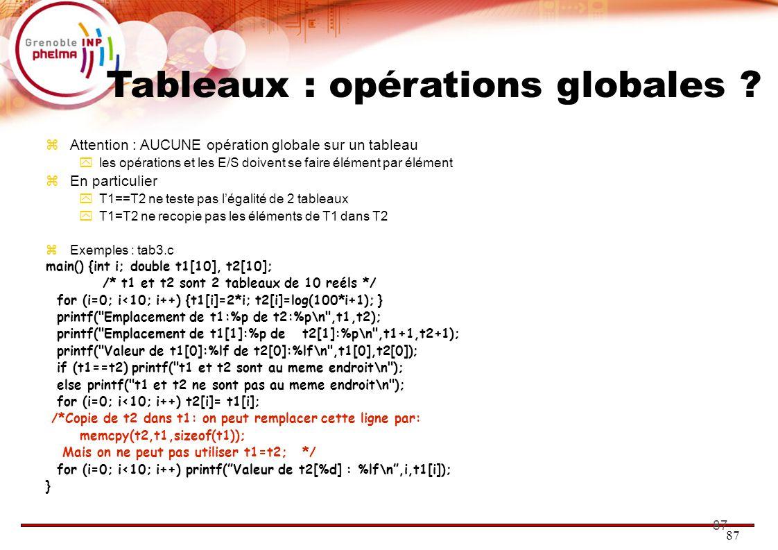 87 Tableaux : opérations globales ?  Attention : AUCUNE opération globale sur un tableau  les opérations et les E/S doivent se faire élément par élé