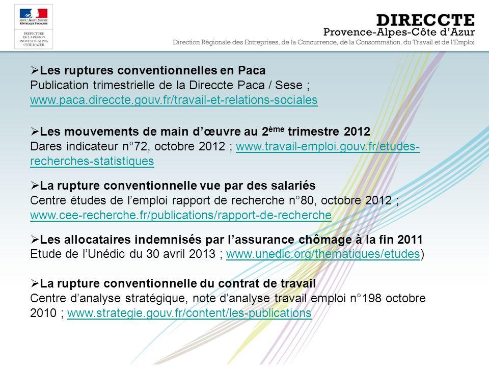  Les ruptures conventionnelles en Paca Publication trimestrielle de la Direccte Paca / Sese ; www.paca.direccte.gouv.fr/travail-et-relations-sociales www.paca.direccte.gouv.fr/travail-et-relations-sociales  Les mouvements de main d'œuvre au 2 ème trimestre 2012 Dares indicateur n°72, octobre 2012 ; www.travail-emploi.gouv.fr/etudes- recherches-statistiqueswww.travail-emploi.gouv.fr/etudes- recherches-statistiques  La rupture conventionnelle vue par des salariés Centre études de l'emploi rapport de recherche n°80, octobre 2012 ; www.cee-recherche.fr/publications/rapport-de-recherche www.cee-recherche.fr/publications/rapport-de-recherche  Les allocataires indemnisés par l'assurance chômage à la fin 2011 Etude de l'Unédic du 30 avril 2013 ; www.unedic.org/thematiques/etudes)www.unedic.org/thematiques/etudes  La rupture conventionnelle du contrat de travail Centre d'analyse stratégique, note d'analyse travail emploi n°198 octobre 2010 ; www.strategie.gouv.fr/content/les-publicationswww.strategie.gouv.fr/content/les-publications