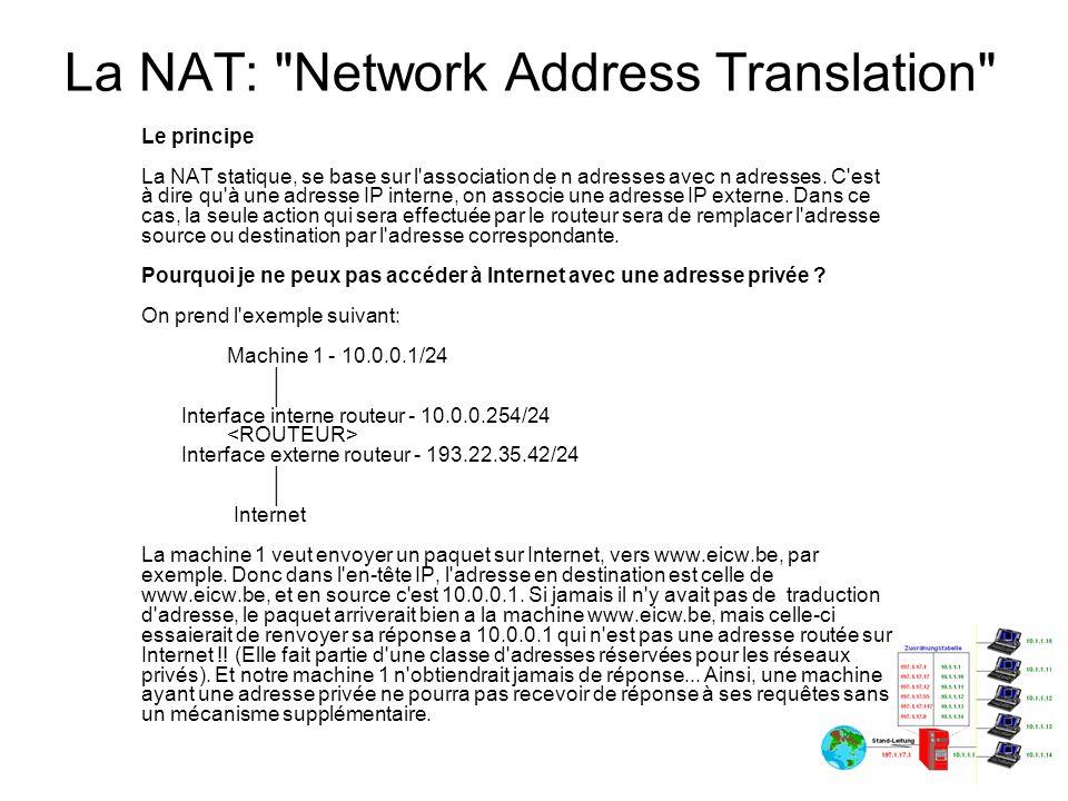 La NAT: Network Address Translation Le fonctionnement de la NAT statique Nous avons vu qu une machine ayant une adresse privée ne pouvait pas dialoguer sur Internet avec celle-ci, donc pour résoudre ce problème, on va lui donner une adresse publique virtuelle qui va lui permettre d accéder à Internet.