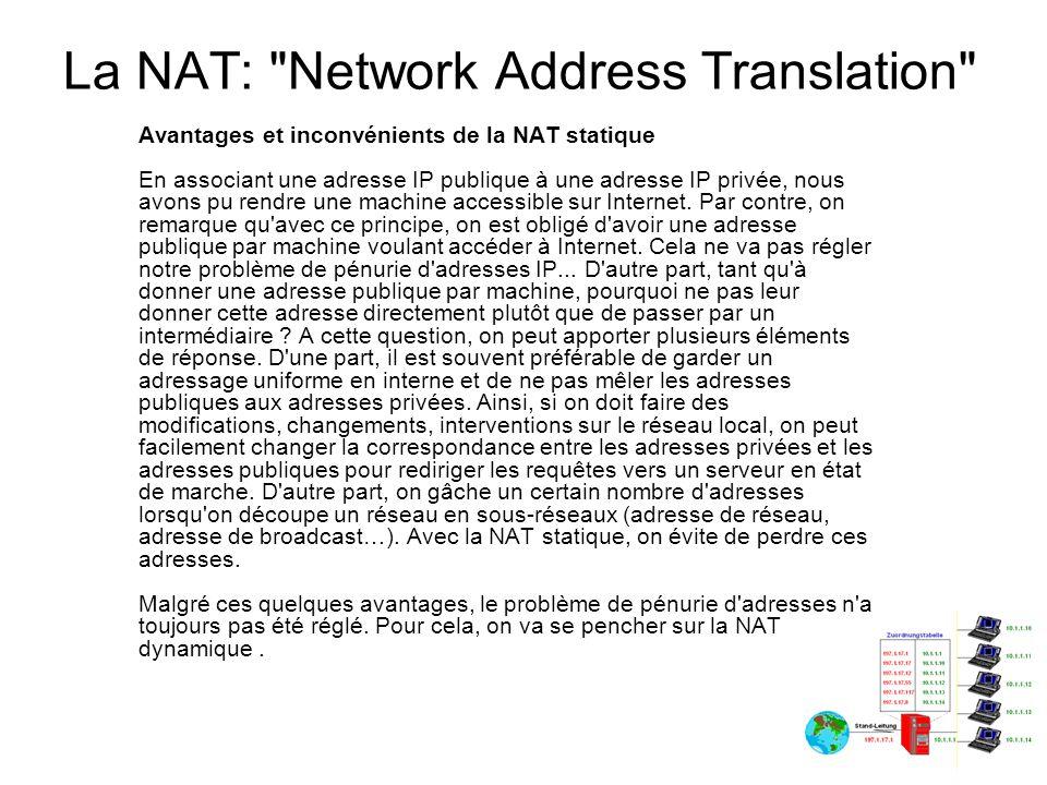 La NAT: Network Address Translation Problèmes de routage liés à l utilisation de la NAT statique (proxy ARP) Les problèmes montrés ne sont pas toujours rencontrés lors de l implémentation de la NAT statique.