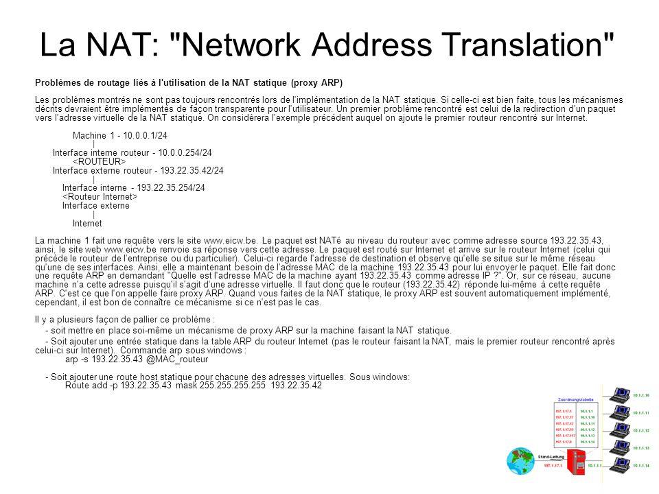 La NAT: Network Address Translation Problèmes de routage liés à l utilisation de la NAT statique (routage sur la passerelle) Un second problème peur survenir sur l équipement qui fait la NAT.