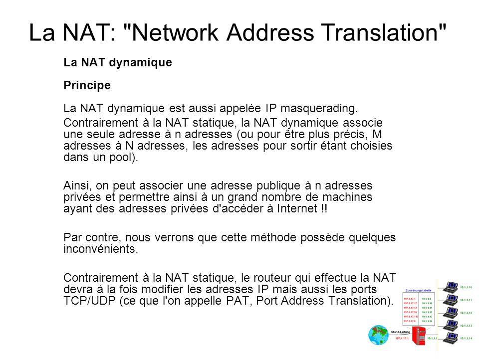 La NAT: Network Address Translation Le fonctionnement de la NAT dynamique Le fonctionnement est un peu différent de celui de la NAT statique.