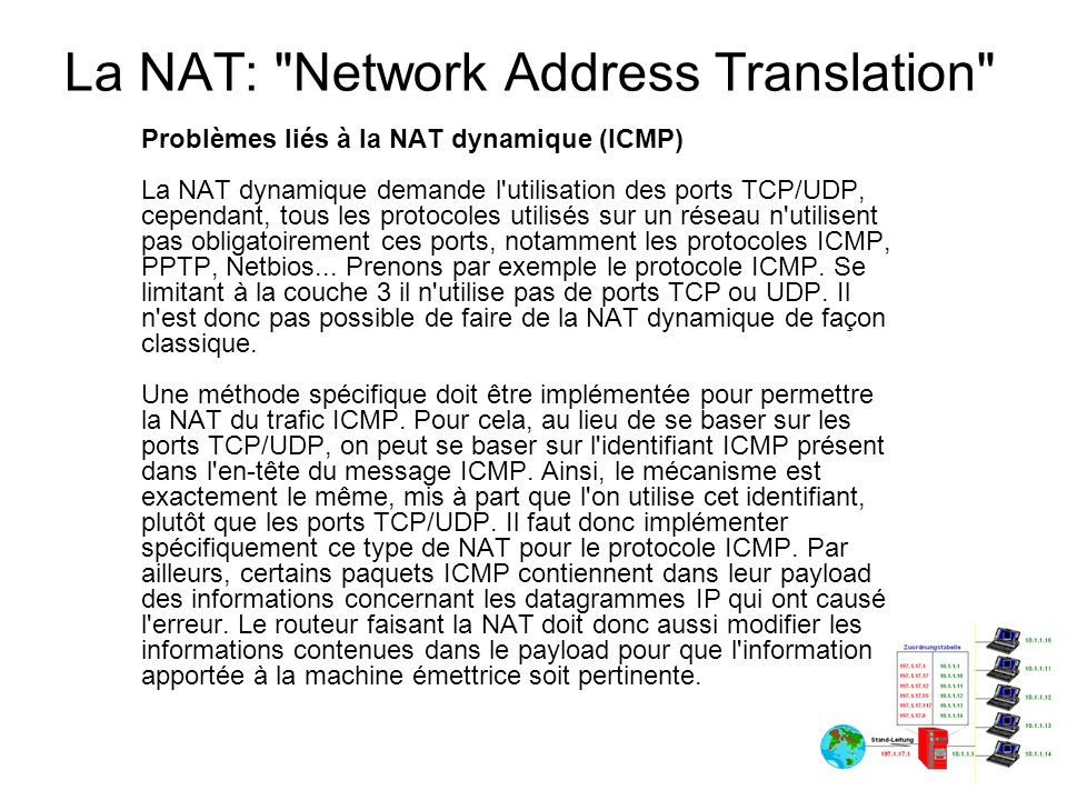 La NAT: Network Address Translation Problèmes liés à la NAT dynamique (FTP) Le protocole ftp a un fonctionnement un peu particulier.