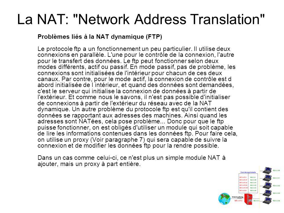 La NAT: Network Address Translation Quand faire de la NAT statique .