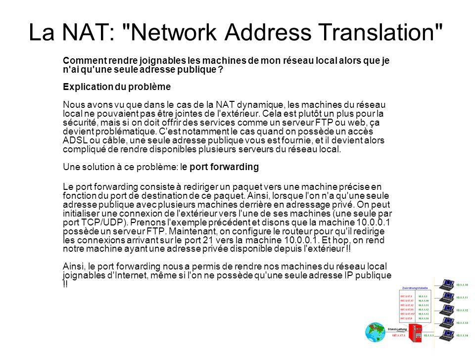 La NAT: Network Address Translation Le port mapping, qu est-ce que c est .