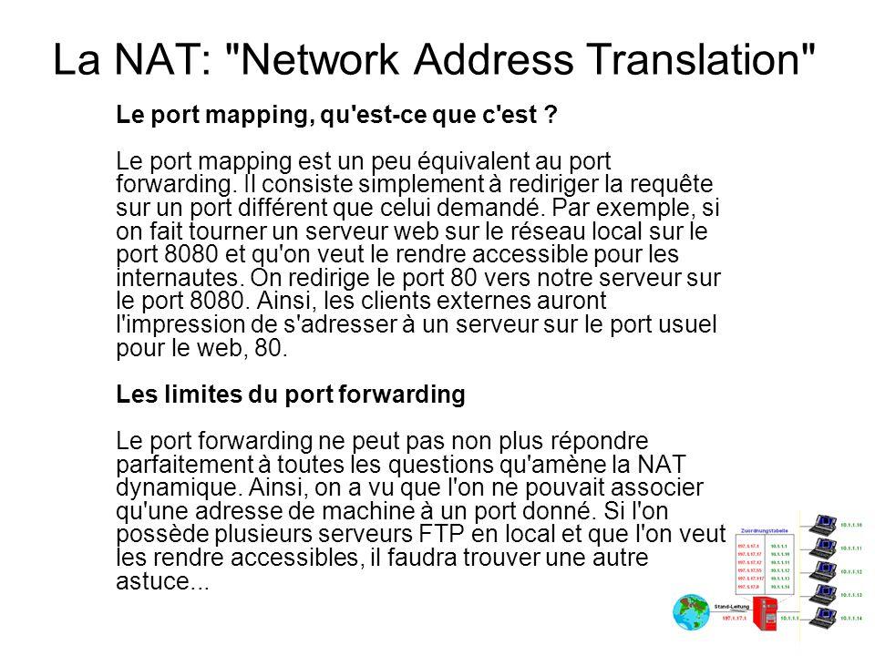 La NAT: Network Address Translation Les proxys Qu est-ce qu un proxy .