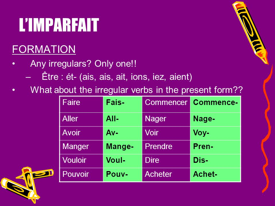L'IMPARFAIT USES 2.to state habitual actions in the past. The imparfait is also used to state habitual actions in the past. These past habits are ofte