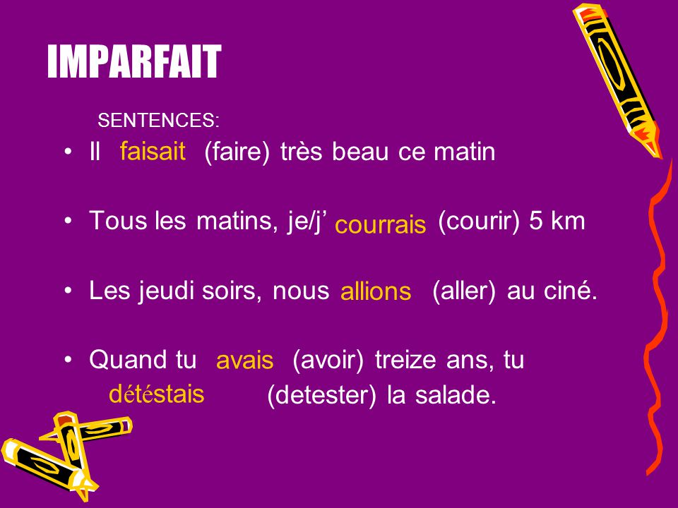 USES OF IMPARFAIT - two or more actions or states 1.If the actions or states continued together for a period of time (limited or not) and you want to