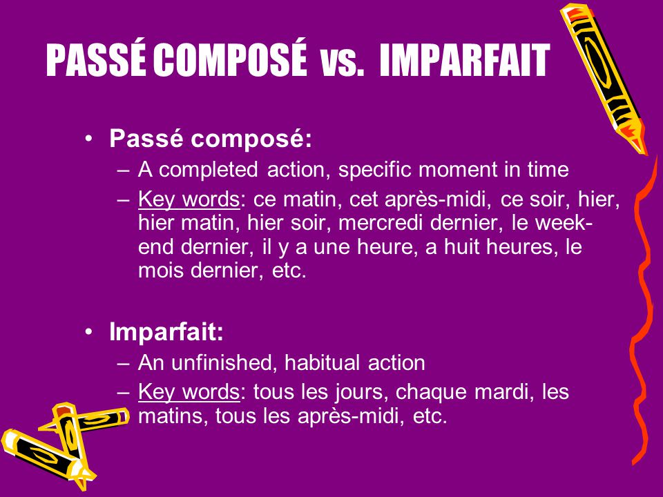 PASSÉ COMPOSÉ vs. IMPARFAIT 1.If one action or state served as the background or the context (IMPARFAIT) for the other (PASSÉ COMPOSÉ) Pendant que nou